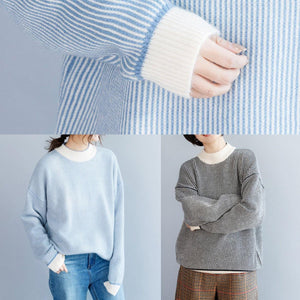 Pullover winter blue white striped knit sweat tops casual high neck crane tops