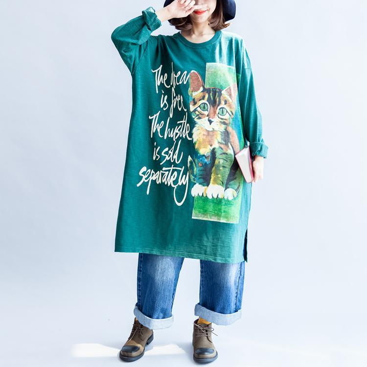 Pure cotton green cat print oversized dresses plus size causal jumpers