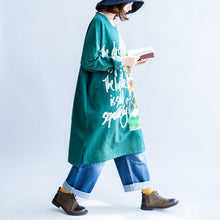 Load image into Gallery viewer, Pure cotton green cat print oversized dresses plus size causal jumpers