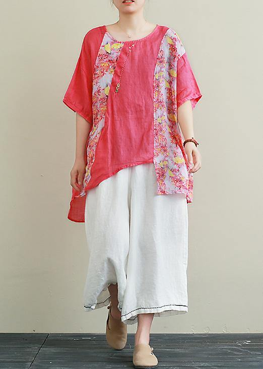Ramie red printed short-sleeved suit large size cotton and linen wide-leg pants two-piece suit