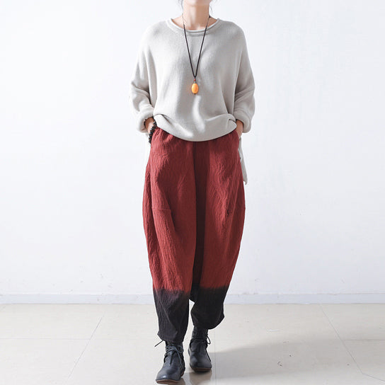 Red gradient linen harem pants oversized elastic waist cotton pants trousers