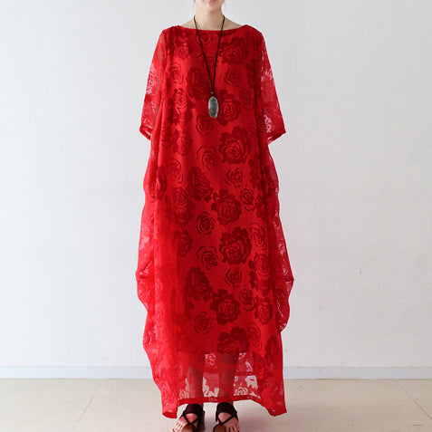 Red roses tulle chiffon caftans maxi dresses causal gown plus size clothing