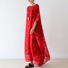 Load image into Gallery viewer, Red roses tulle chiffon caftans maxi dresses causal gown plus size clothing