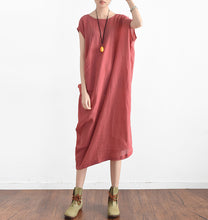Load image into Gallery viewer, Red summer linen dresses side draping caftans oversized sleeveless sundress