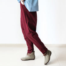 Load image into Gallery viewer, Red winter pants warm thick carrot pants oversized elastic waist harem pants