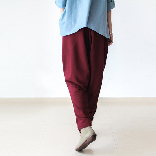 Red winter pants warm thick carrot pants oversized elastic waist harem pants