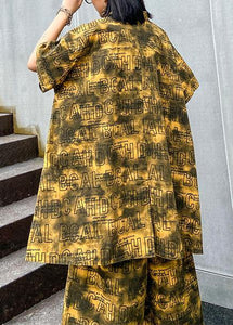 Retro big yards female fashion yellow shirt printing wide leg pants two pieces