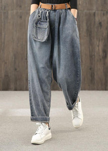 Retro denim blue autumn new trousers plus size harem pants