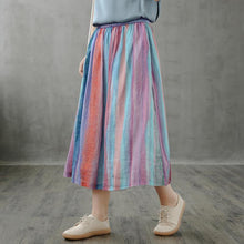 Load image into Gallery viewer, Retro half-length skirt women loose and thin striped midi skirt