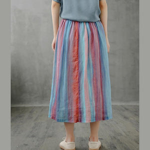Retro half-length skirt women loose and thin striped midi skirt