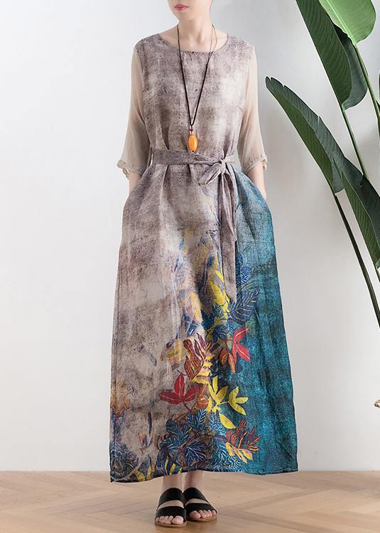 Retro style silk dress linen dress gray leaf print loose simple tie waist dress