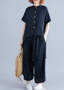 Retro suit silk hemp irregular short-sleeved shirt + elastic waist strap wide leg pants black was thin