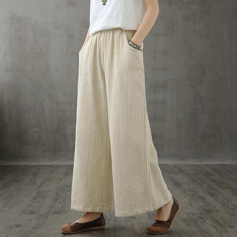 Retro wide leg pants women loose casual autumn wear 2020 new beige trousers