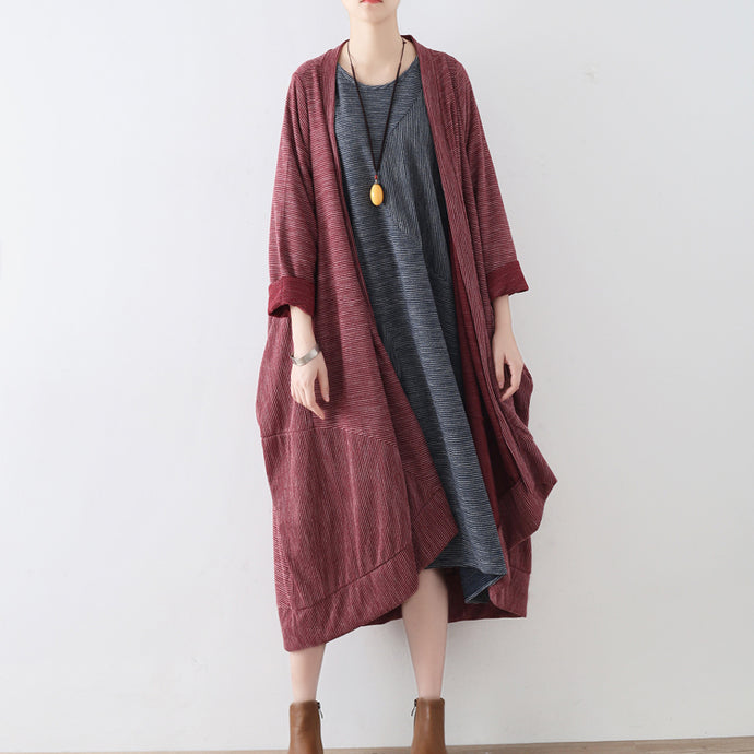 Ruby stripe cotton cardigans long casual coats oversized cotton clothing