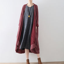 Load image into Gallery viewer, Ruby stripe cotton cardigans long casual coats oversized cotton clothing