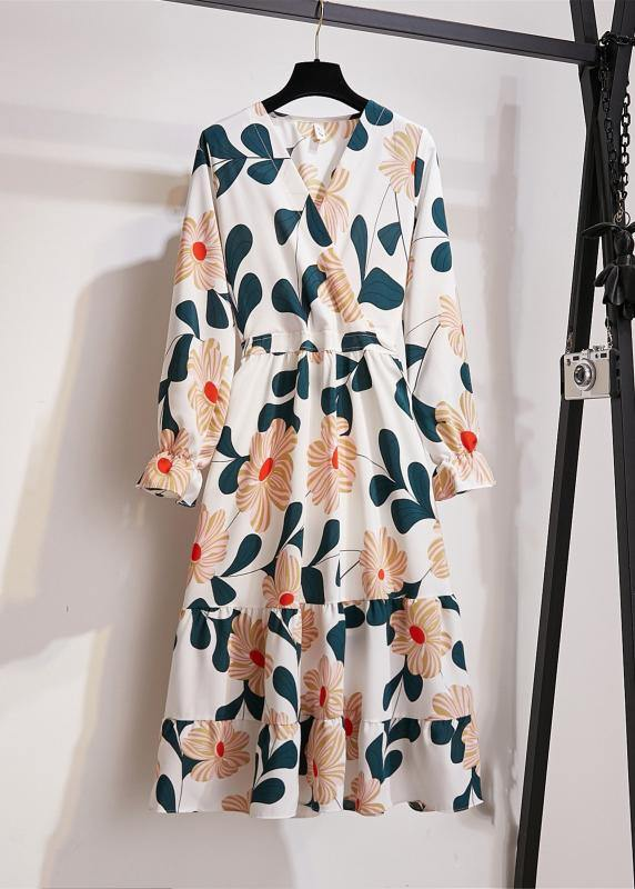 Natural Print Chiffon Clothes For Women V Neck Wrinkled Art Dresses