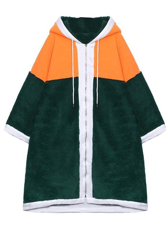 Luxury Mid-length Coats Green Hooded Patchwork Teddy Coat