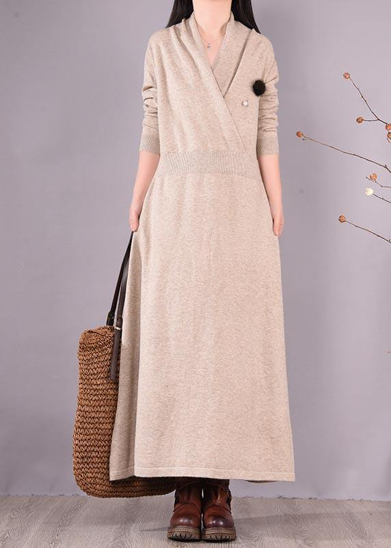 Simple Beige Quilting Clothes V Neck Asymmetric Spring Dress