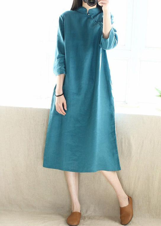 Simple Blue Green Tunics Stand Collar Half Sleeve Maxi Dress