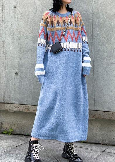 Simple Geometric Sweater winter dresses Classy blue o neck Fuzzy knit dresses