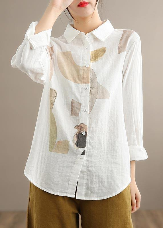 Simple Lapel Cinched Spring Clothes Khaki Print Top