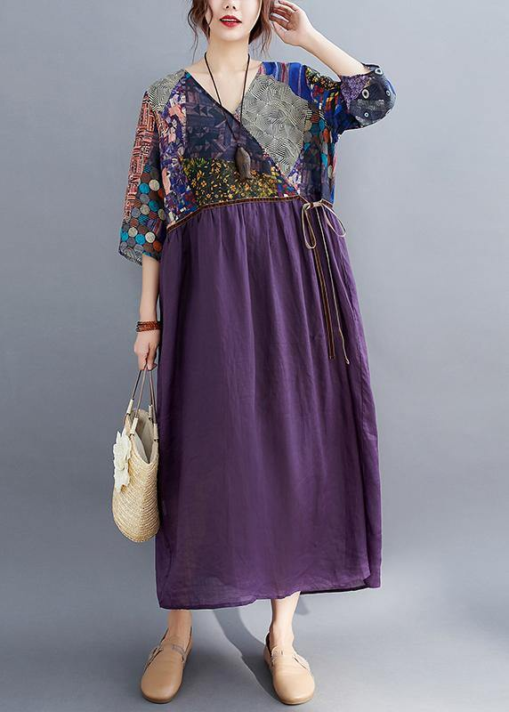 Simple Purple Print Tunic Pattern V Neck Tie Waist Loose Spring Dress