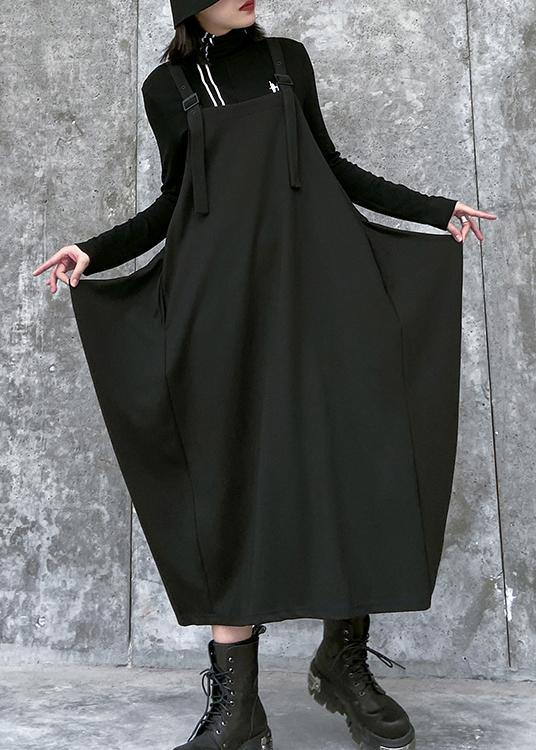 Simple Spaghetti Strap asymmetric spring Tunics Wardrobes black Dress