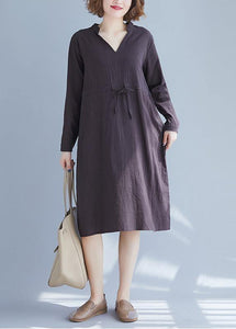 Simple V Neck Drawstring Spring Robes Neckline Gray Dresses
