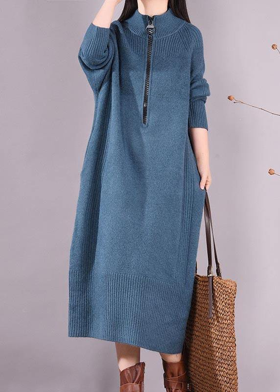 Simple Zippered Pockets Spring Clothes For Women Work Outfits Blue Robes Dresses