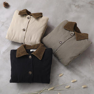 Simple beige Fine crane coats Work lapel patchwork outwear