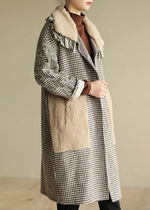 Simple big pockets Plus Size patchwork box coat plaid daily outwears