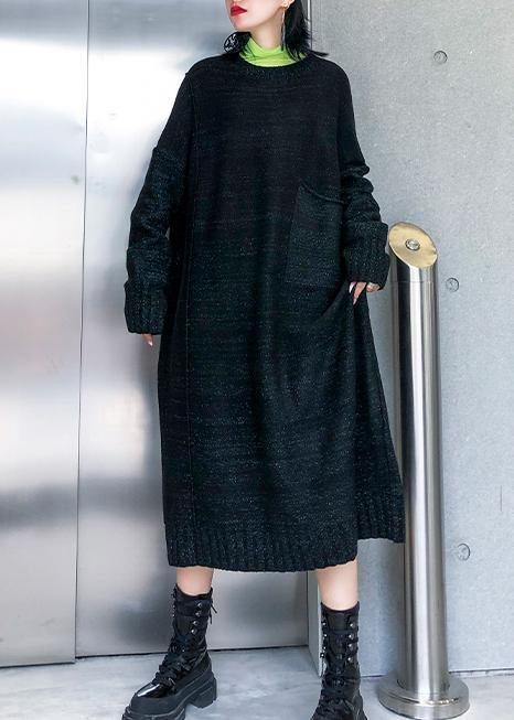 Simple big pockets Sweater fall dress DIY black Tejidos knitted dress