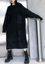 Load image into Gallery viewer, Simple big pockets Sweater fall dress DIY black Tejidos knitted dress