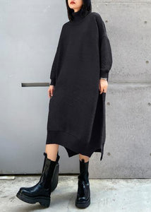 Simple black Sweater outfits Largo high neck low high design Art fall knit dress