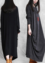 Load image into Gallery viewer, Simple black cotton clothes asymmetric cotton robes wild Dress
