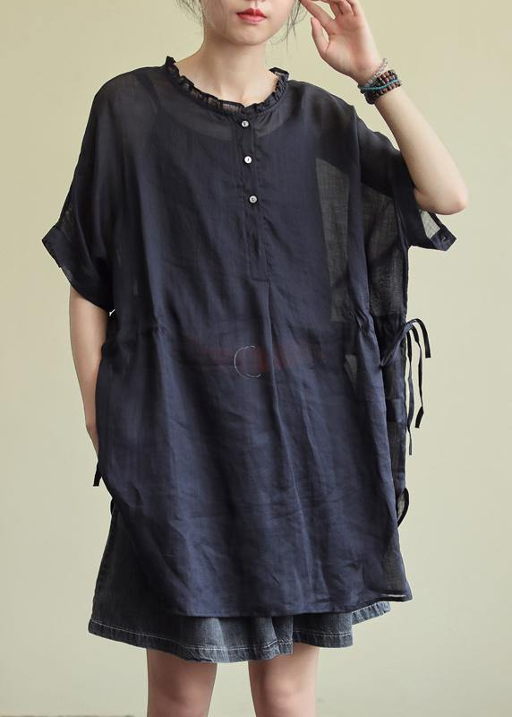 Simple black cotton tunic pattern o neck Ruffles Plus Size Clothing blouses