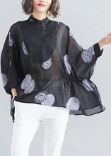 Load image into Gallery viewer, Simple black dotted linen linen tops women o neck asymmetric cotton summer top