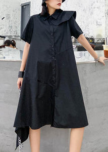 Simple black dress lapel zippered baggy asymmetric Dresses