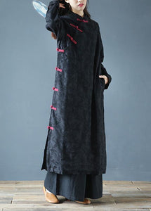 Simple black print clothes Women stand collar Chinese Button Kaftan Dresses