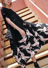 Load image into Gallery viewer, Simple black prints cotton tunic top big hem Traveling summer Dress