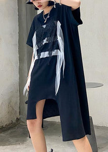 Simple black quilting clothes o neck asymmetric Art summer Dresses
