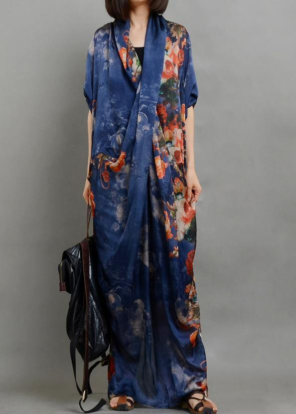 Simple blue print chiffon dress long Fitted Ideas v neck asymmetric linen robes Summer Dresses