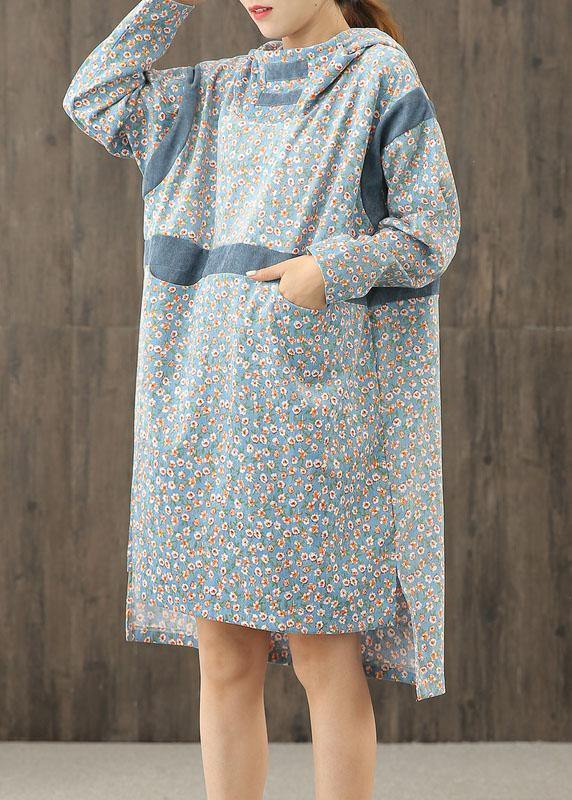 Simple blue print hooded patchwork shift Dresses