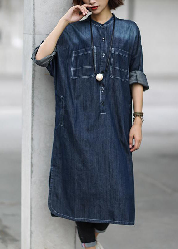Simple cotton dress Fitted Blue Autumn Casual Cotton Solid Slit Denim Dress