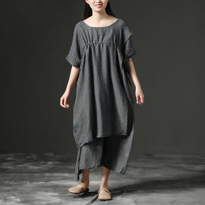 Simple cotton tunic dressFashion Short Sleeve Gray Loose Cotton Women Dress