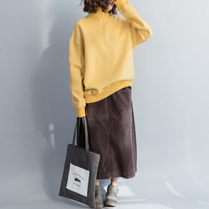 2492f95d52d6 Simple cotton tunic top tops quality high neck Sewing yellow loose ...