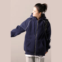 Load image into Gallery viewer, Simple cotton tunics for women 2019 Catwalk blue daily blouse hooded