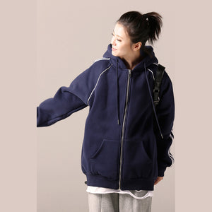 Simple cotton tunics for women 2019 Catwalk blue daily blouse hooded