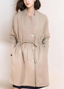 Simple drawstring Plus Size spring maxi coat nude Plus Size Clothing coats