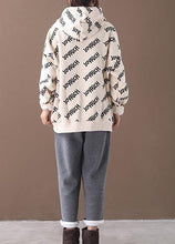 Load image into Gallery viewer, Simple drawstring cotton hooded top silhouette Outfits beige alphabet prints tops